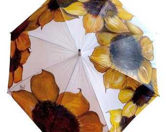 Hand Painted Umbrella • Sunflowers • Rain Umbrella with Flowers • Wooden Handle • White • Bright Colors • Personalized •Made to Order
