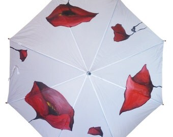 Hand Painted Umbrella • Poppies • Rain Umbrella with Flowers • Wooden Handle • White • Bright Colors • Personalized •Made to Order