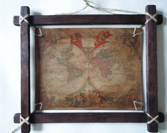 "Wall panels. ""Ancient map of the world."""