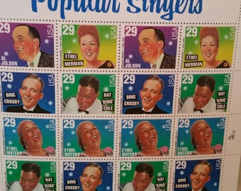 U.S. Postage Stamps Popular Singers Sheet