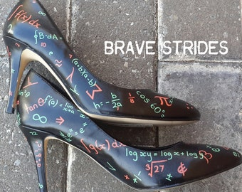 Custom Hand Painted Heels. Math Equation Pumps. Black, Orange and Green.  Teacher Shoes. Other Colours Avail. I paint your shoes!