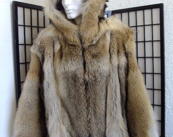 Brand new natural coyote fur jacket coat w/hood hoodie for men man size all  custom made