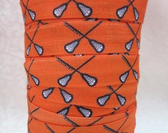 5/8 inch Lacrosse on Orange Sports Fold Over Elastic FOE