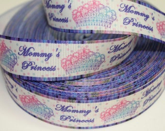 1 inch Mommy's Princess - Purple Border -  Printed Grosgrain Ribbon for Hair Bow