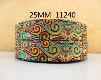 1 inch Kaleidoscope Pattern 11240 - Printed Grosgrain Ribbon  - Printed Grosgrain Ribbon for Hair Bow