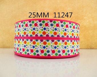 1 inch Polka Dot Party - Hot pink Border - Printed Grosgrain Ribbon for Hair Bow