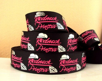 1 inch Redneck Princess on Black - Hot Pink - Silver - Printed Grosgrain Ribbon for Hair Bow