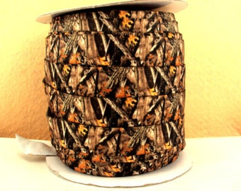 5/8 inch - Brown BRANCH CAMOUFLAGE - Fold Over Elastic FOE for Headband