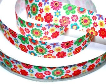 1 inch LITTLE FLOWERS All Over - Printed Grosgrain Ribbon for Hair Bow