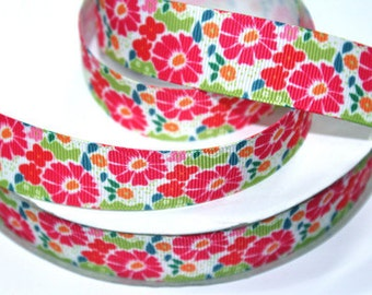 7/8 inch Flower Flowers Floral Style 0402 - Printed Grosgrain Ribbon for Hair Bow