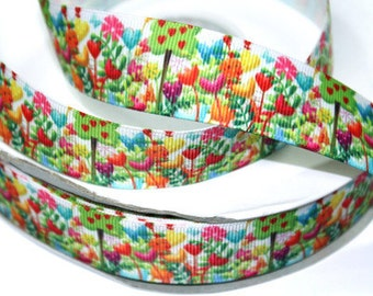 7/8 inch Flower Flowers Floral STYLE 0405 - Printed Grosgrain Ribbon for Hair Bow