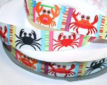 7/8 inch Color Crabs on Colorful Background - AL117 - Printed Grosgrain Ribbon for Hair Bow