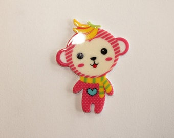 1 Piece - Approx. 2 inches - Cute Pink MONKEY With Banana Flat Back Resin Accent