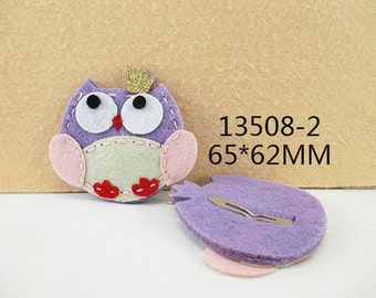 1 PIECE - Felt Owl Lavender and Pink Tones Hair Clip - HAIRCLIP - Accent - Resin