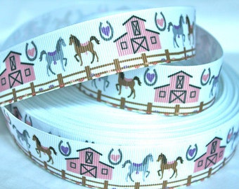 1 inch Ponies on White (pink barn) - Printed Grosgrain Ribbon for Hair Bow