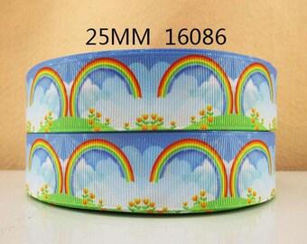 1 inch Rainbows on blue Sky - Rainbow  - STYLE 16086 - Printed Grosgrain Ribbon for Hair Bow