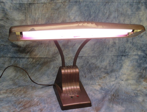 metal desk lamp mid century fluorescent office school study vintage c. Black Bedroom Furniture Sets. Home Design Ideas