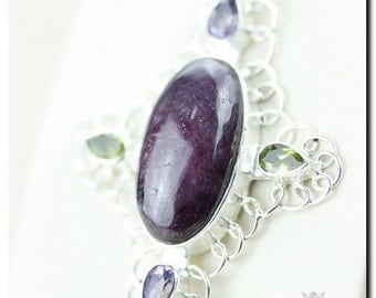 FILIGREE Setting Ruby ZOISITE ANYOLITE 925 Solid Sterling Silver Pendant + 4mm Snake Chain & Free Worldwide Shipping P1737