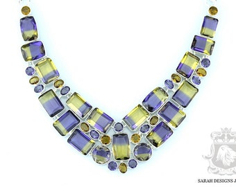 Subtle COLORATION!! SIMULATED 347 Carats Rectangle Cut Multi Layered AMETRINE 925 Solid Sterling Silver Necklace n366