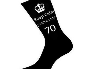 Mens Keep Calm You're Only 70 Socks. A fun & Unique 70th Birthday Gift Idea for Brother, Husband, Friend, Relative *Variious Colours*