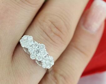 21 Diamonds - 1.36ct F VS2 Cluster Flower Diamond Ring