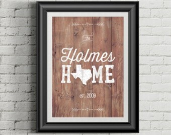 Custom Home Decor- Wood Background/Chalk Style Family Name with Home State AND Established Date- Personalized Wall Art