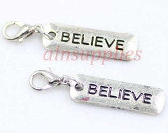 Word BELIEVE Floating Locket Dangle / Believe Charm Pendant / Word Floating Charms With Lobster Clasp
