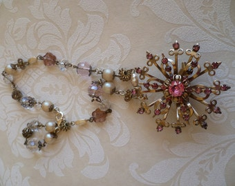 Vintage necklace repurposed jewelry for special occasions         beautiful pink rhinestone vintage necklace handcrafted and bespoke.