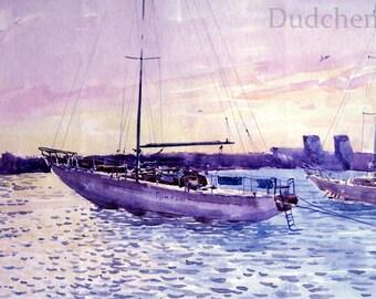 Yachts, painting, watercolor , sea