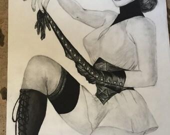 Sally Jupitar charcoal drawing