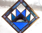 "Stained Glass Appalachian Quilt Square Bear Paw Shades of Blue - Handmade 6 "" Hanging Panel by Dark Hollow Stained Glass"