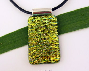"Dichroic Fused Glass  Handmade Pendant, Green - Gold Rectangular Cabochon Necklace ""Golden Treasure"" Dichroic Glass Pendant"