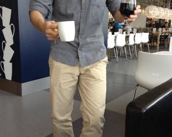 BuFan Handmade men's Casual Shirt Long Sleeve Gray Cotton