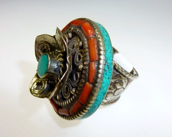 Ethnic Ring with Turquoise and Coral, Size Nr 8