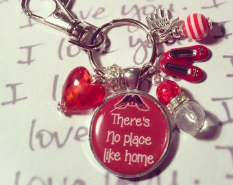 Wizard of Oz, Wizard oz keyring, Wizard oz keychain, There's no place like home, ruby slippers keyring, ruby slippers keychain