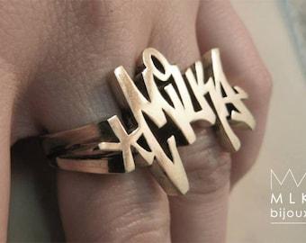 ring graffiti custom sterling silver 2 fingers