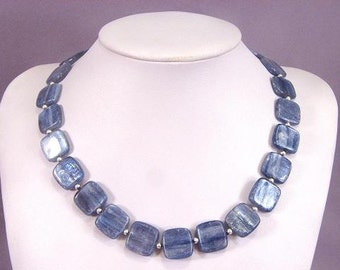 Necklace Kyanite 16mm Square Chatoyant Beads 925 NSKY5727