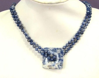 """Necklace 45"""" Sodalite 40mm Square Pendant Many Styles #2 Exact Photo NSSD5523-2"""