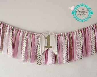 First Birthday Banner - Pink and Gold - Photo Prop Banner - Birthday Banner - Rag Tie Banner - Birthday Banner - Unique Birthday Banner