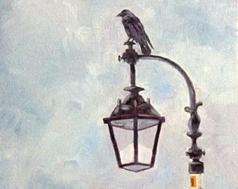 Kilmollock Sentinel, crow painting, Irish subject, 9 x 12, original art, oil painting