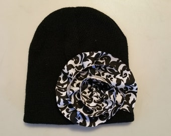 Black Infant Beanie with Paisley Pattern Flower