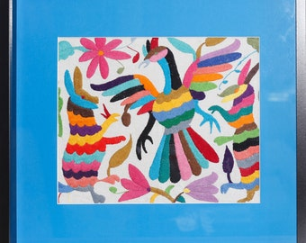 Framed Hand Embroidered Tenango (Otomi)