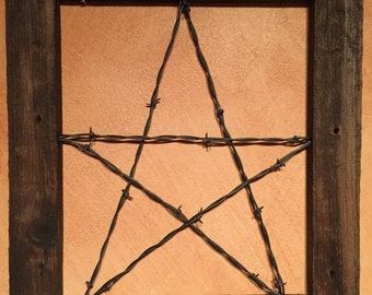 Barn wood frame with barb wire star