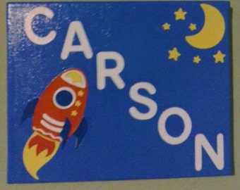 Space Theme Canvas Name Sign