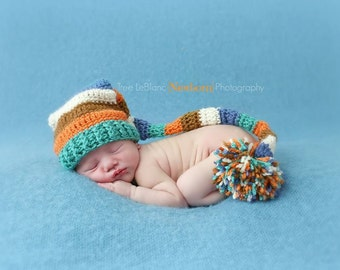 Harvest Elf Hat - Baby Stocking Hat - Elf Hat - Baby Boy Prop Hat - Long Pom pom Hat - Photography Props - Autumn Colors ~ Newborn Props