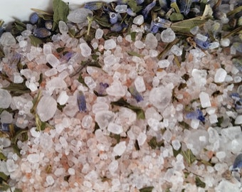Lavender & Peppermint Bath Salts   3 Organic Herbal Bath Tea Bags   Bath Salt Soak   Party Favor   Wedding Gift   Tub Tea   6 oz