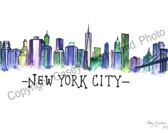 New York City Skyline Watercolor Painting