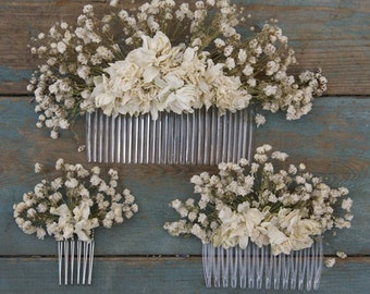 Boho Purity Dried Flower Hair Comb