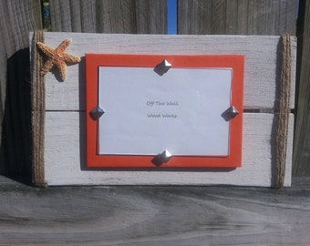 Starfish reclaimed wood picture frame