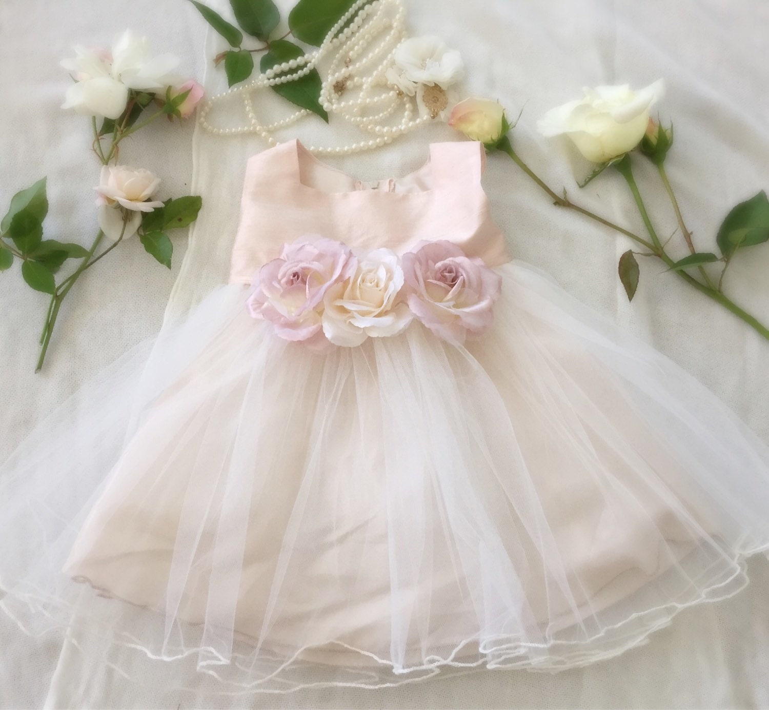 Rose Gold Flower Girl Dress Baby Girl Special First by PurdyGurly